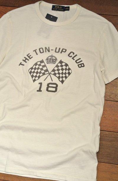 画像1: 【クリックポスト185円も可】ポロラルフローレン チェッカーフラッグ 染込みプリント Tシャツ  (White/  S) 新品 並行輸入