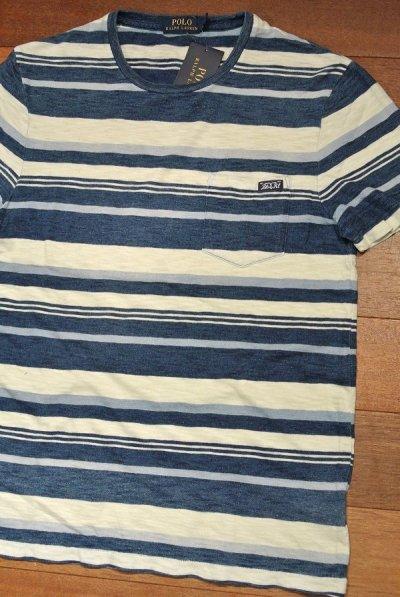 画像2: 【クリックポスト170円も可】 ポロラルフローレン インディゴ ポケットボーダーTシャツ【S】新品 定価10360
