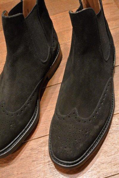 画像1: 【SALE!!】ポロラルフローレン スウェード ウイングチップ サイドゴアブーツ Bench made in England イングランド製【 Black , 9 1/2-E 】新品 並行輸入 箱無し クロケット&ジョーンズ
