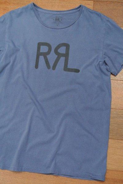 画像1: 【クリックポスト170円も可】【EXCELLENT USED】RRL ダブルアールエル ロゴTシャツ (BLUE/M) 中古