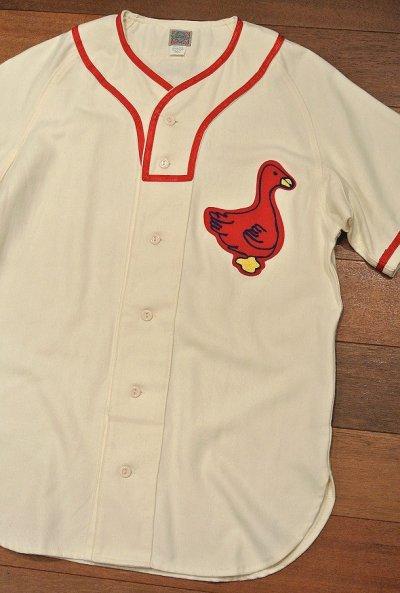 画像1: 新品 EBBETS FIELD FLANNELS ウール ベースボールシャツ 【Portland Ducks 1933 Home / S】$195