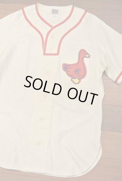 画像1: 新品 EBBETS FIELD FLANNELS ウール ベースボールシャツ 【Portland Ducks 1933 Home / S】$195 (1)