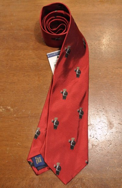 画像2: 【クリックポスト170円も可】ポロラルフローレン ベアー モノグラム刺繍 シルクネクタイ (Red) ポロベアー 新品