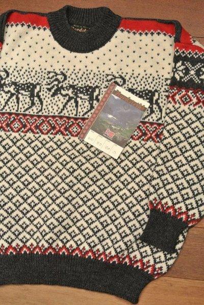 画像1: 未使用品 Nordstrikk ノルウェー製 トナカイ柄 ウール ハイネックセーター【S】