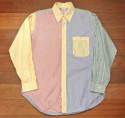 画像2: 【Vintage/Used】ブルックスブラザーズ クレイジーパターン ストライプB.Dシャツ アメリカ製【16-R】中古