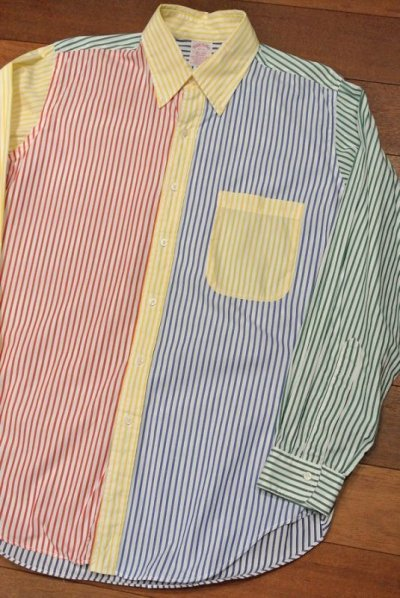 画像1: 【Vintage/Used】ブルックスブラザーズ クレイジーパターン ストライプB.Dシャツ アメリカ製【16-R】中古