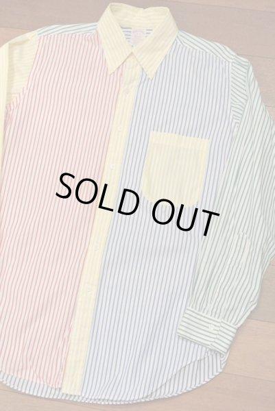 画像1: 【Vintage/Used】ブルックスブラザーズ クレイジーパターン ストライプB.Dシャツ アメリカ製【16-R】中古 (1)