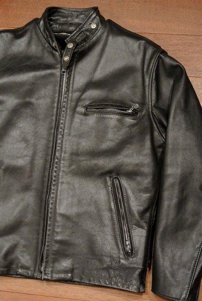 画像1: 【USED】Schott レザーシングルライダースジャケット ライナー付き アメリカ製 #641【Black/40】中古