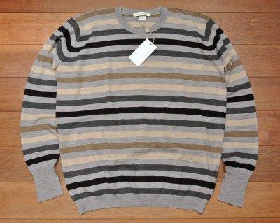 画像2: 新品 JOHN SMEDLEY ジョンスメドレー ウール ボーダークルーネックセーター【Silver/Charcoal,M】イングランド製