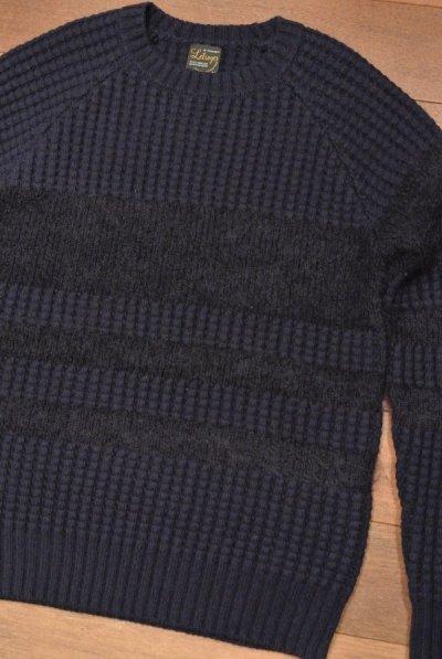画像1: Letroyes(ルトロワ) ウールカシミアワッフル×モヘアクルーネック セーター【NAVY/M】新品 定価35640