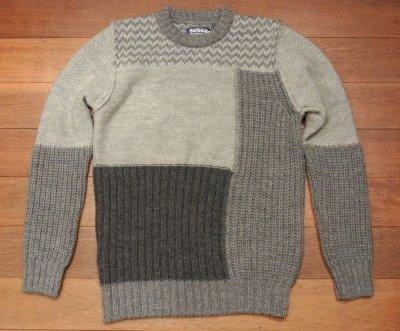 画像2: Barbour×White Mounteineering FINHARA CREW NECK パッチワーク切り替えセーター【Gray/M】ポルトガル製 新品