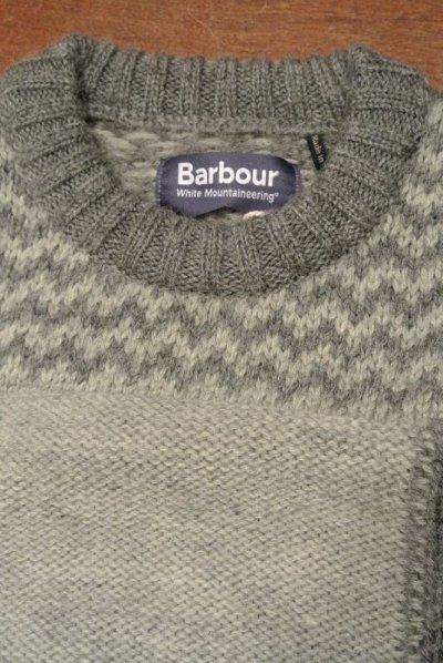 画像3: Barbour×White Mounteineering FINHARA CREW NECK パッチワーク切り替えセーター【Gray/M】ポルトガル製 新品