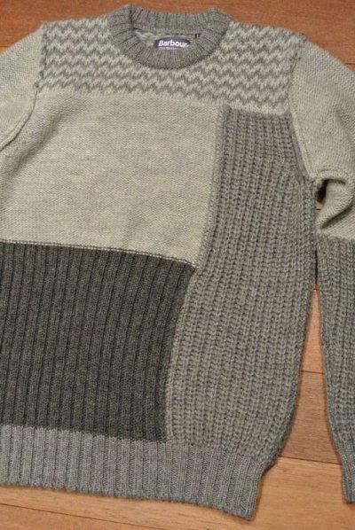 画像1: Barbour×White Mounteineering FINHARA CREW NECK パッチワーク切り替えセーター【Gray/M】ポルトガル製 新品