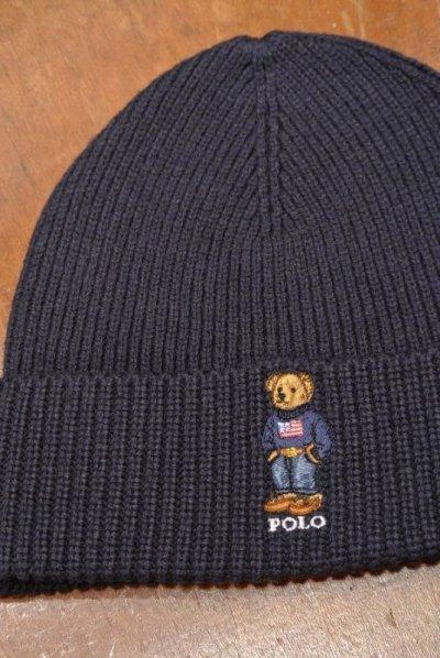 画像1: 【クリックポスト185円も可】ポロラルフローレン ポロベアー刺繍 ニットキャップ【Navy】 新品 並行輸入