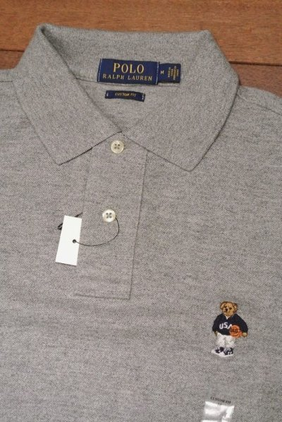 画像1: 【クリックポスト188円も可】ポロラルフローレン ポロベアー 鹿の子ポロシャツCUSTOM FIT【Gray/L】新品 並行輸入