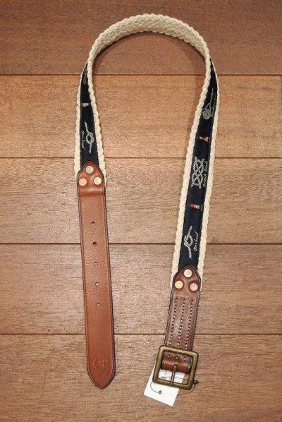 画像1: ポロラルフローレン コットン編み込み ロープ/灯台 柄リボン+レザー ベルト(34) 新品 並行輸入