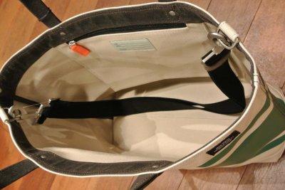 画像3: JACK SPADE(ジャックスペード) キャンバス+コーティング ストライプ トート+ショルダーバッグ(Natural/Green)  CANVAS TRIPLE STRIPED COAL BAG 新品 並行輸入