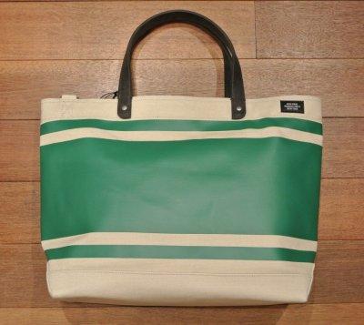 画像2: JACK SPADE(ジャックスペード) キャンバス+コーティング ストライプ トート+ショルダーバッグ(Natural/Green)  CANVAS TRIPLE STRIPED COAL BAG 新品 並行輸入