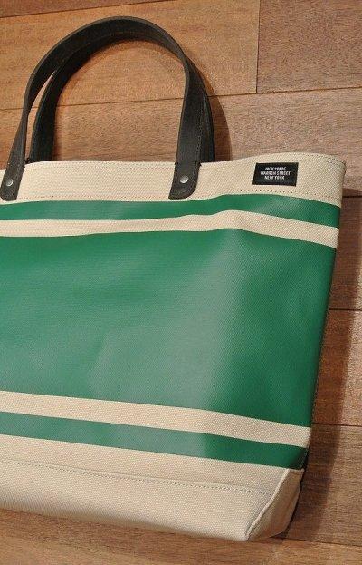 画像1: JACK SPADE(ジャックスペード) キャンバス+コーティング ストライプ トート+ショルダーバッグ(Natural/Green)  CANVAS TRIPLE STRIPED COAL BAG 新品 並行輸入