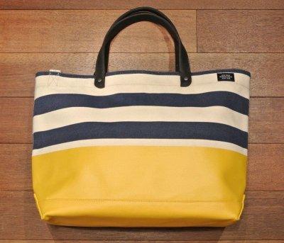 画像2: JACK SPADE(ジャックスペード) キャンバス+コーティング ストライプ トート+ショルダーバッグ(Natural/yellow/Navy)  CANVAS TRIPLE STRIPE DIPPED COAL BAG 新品 並行輸入