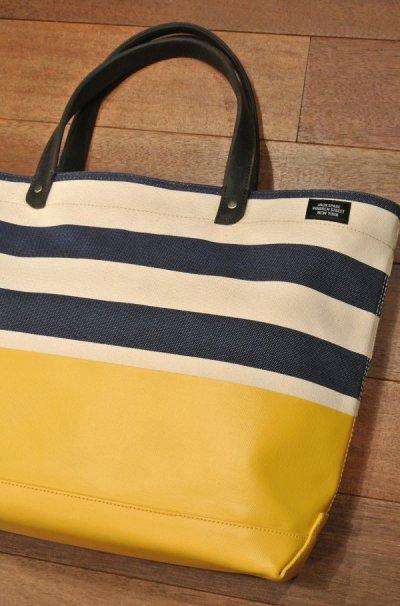 画像1: JACK SPADE(ジャックスペード) キャンバス+コーティング ストライプ トート+ショルダーバッグ(Natural/yellow/Navy)  CANVAS TRIPLE STRIPE DIPPED COAL BAG 新品 並行輸入