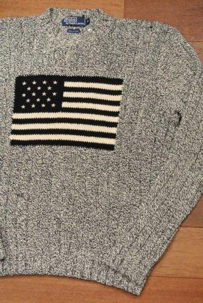 画像1: (EXCELLENT USED)ポロラルフローレン フラッグ コットンセーター 星条旗【Dark Navy/M】中古