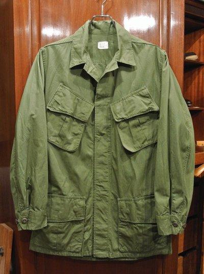 画像1: 60s デッドストック U.S ARMY ポプリン ジャングルファティーグジャケット 【SMALL-REGULAR】ノンリップ 3rd