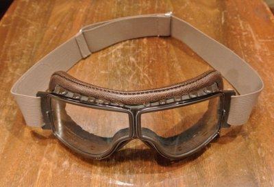 画像1: 【EXCELLENT USED】Leon Jeantet Aviator Goggles フランス製 ゴーグル ブラウンレザー