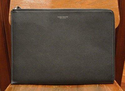 画像1: GLOBE TROTTER グローブトロッター JETレザー ドキュメントケース クラッチバック (Black ブラック) 新品 イングランド製 定価74520
