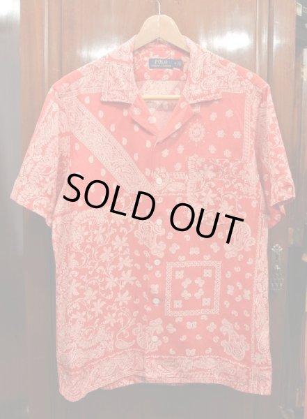 画像1: 未使用品 ポロラルフローレン リネン×コットン×シルク ペイズリー柄 半そでシャツ (Red/M)  (1)