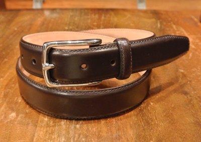 画像1: ARNOLD WILLS(アーノルド ウィルス)フレンチカーフ レザーベルト イングランド製  30mm (DARK BROWN, 32) 定価12960 新品