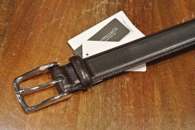 画像3: ARNOLD WILLS(アーノルド ウィルス)フレンチカーフ レザーベルト イングランド製  30mm (DARK BROWN, 32) 定価12960 新品