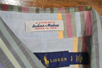 画像3: ポロラルフローレン インディアンマドラス B.Dシャツ (S) 新品 並行輸入