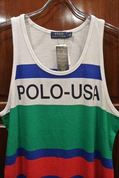 画像1: 【クリックポスト198円も可】ポロラルフローレン POLO USA タンクトップ (S,M) 新品 並行輸入