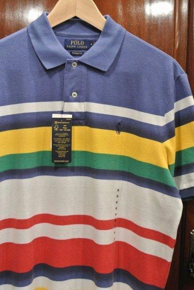 画像2: 【クリックポスト188円も可】ポロラルフローレン マルチカラー ボーダー 鹿の子ポロシャツ(CLASSIC FIT/M) 新品 並行輸入
