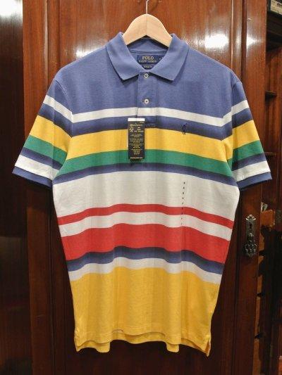 画像1: 【クリックポスト188円も可】ポロラルフローレン マルチカラー ボーダー 鹿の子ポロシャツ(CLASSIC FIT/M) 新品 並行輸入