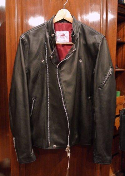 画像1: JAMES GROSE RICARDE JACKET 羊革 ライダースジャケット イングランド製 (Black/40) タグ付き 新品 正規輸入品