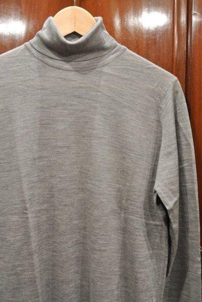 画像2: JOHN SMEDLEY ジョンスメドレー メリノウール タートルネック 長袖 (Gray/S) 新品 タグ付き