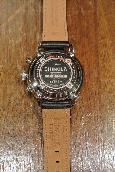 画像2: SHINOLA シャイノラ Bedrock chrono クロノグラフ (Black/42mm) レザーストラップ 新品 箱入り 並行輸入 シャイノーラ