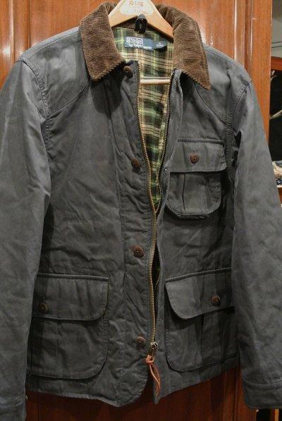 画像1: (EXCELLENT USED)ポロラルフローレン 中綿入り オイルドコットン ハンティングジャケット(Navy/M) 中古