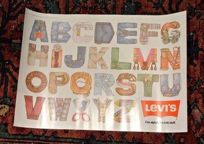 画像1: 80s デッドストック Levi's リーバイス ポスター アルファベット (280×400mm) Deadstock