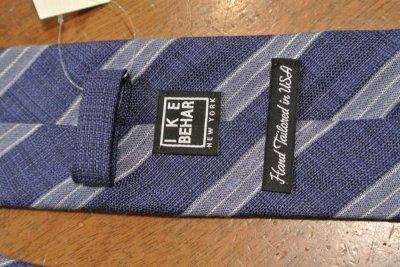 画像3: 【クリックポスト198円も可】 IKE BEHAR アイクベーハー  リネン+シルク ストライプネクタイ (Dark Blue) 新品 並行輸入