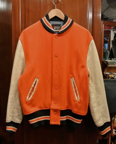 画像1: USED/VTG 60-70s Whiting LOS ANGELES 袖レザー バーシティジャケット アメリカ製 (44) スタジャン 中古 ビンテージ