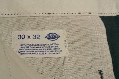 画像3: 90s デッドストック Dickies ディッキーズ ワークパンツ アメリカ製 Green【 W30 】フラッシャーつき 裾上げあり