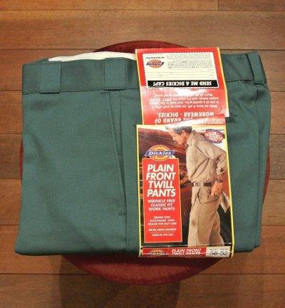 画像1: 90s デッドストック Dickies ディッキーズ ワークパンツ アメリカ製 Green【 W30 】フラッシャーつき 裾上げあり