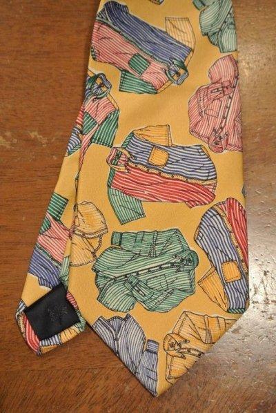 画像2: 【クリックポスト198円も可】EXCELLENT USED 80's ブルックスブラザーズ シルク シャツプリント ネクタイ 【YELLOW】中古 ビンテージ