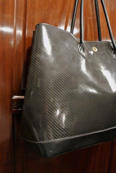 画像2: 【USED】CISEI シセイ/チセイ グラスファイバー ラミネート加工 レザートートバッグ ブラック イタリア製 中古