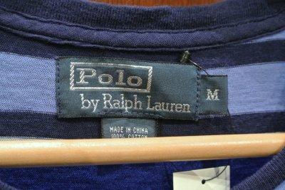画像3: 【クリックポスト198円も可】USED ポロラルフローレン ストライプ Tシャツ(Blue/M) 中古