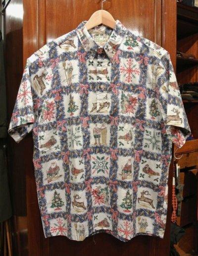 画像1: (USED) 90s Reyn Spooner レインスプーナー クリスマス プルオーバー ハワイアンシャツ ハワイ製 (XL) メレカリキマカ 中古