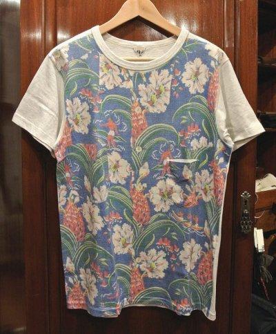 画像1: (クリックポスト198円も可)(USED) FilMelange フィルメランジェ アロハプリント ポケットTシャツ(4) 日本製